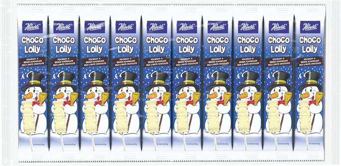 HEINERLE Choco Lolly Schneemann Vollmilch- + weiße Schokolade