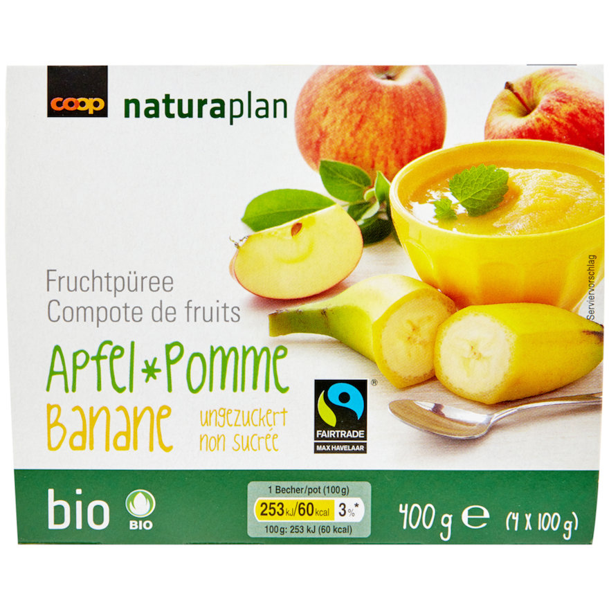 Fruchtpüree, Apfel-Banane (4x100g)
