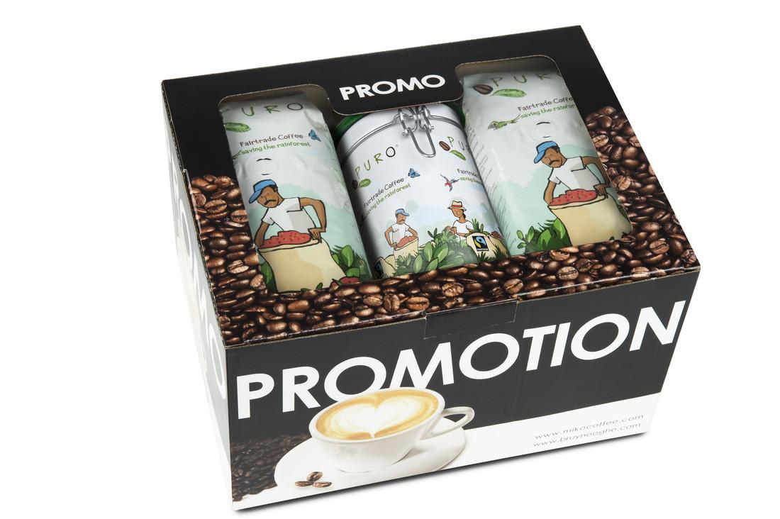 Puro - Promopack - Koffie gemalen cafeïnevrij + koffiesierblik