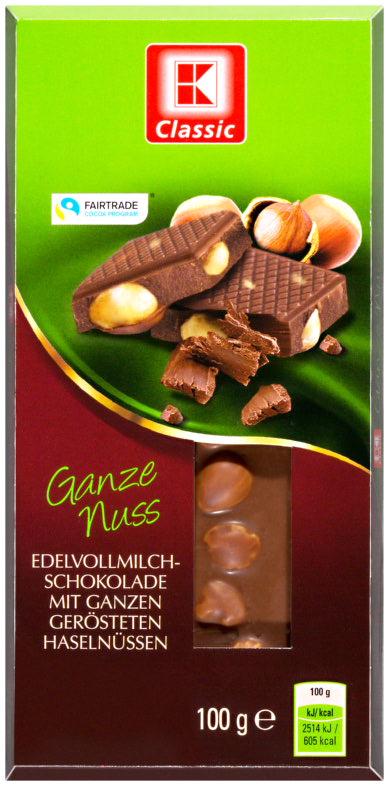 KLC Tafelschokolade Vollmilch Ganze Nuss 100g