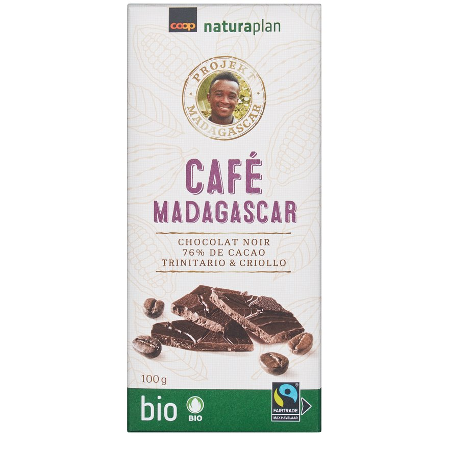 Tafelschokolade mit Kaffee 76 Prozent Madagascar
