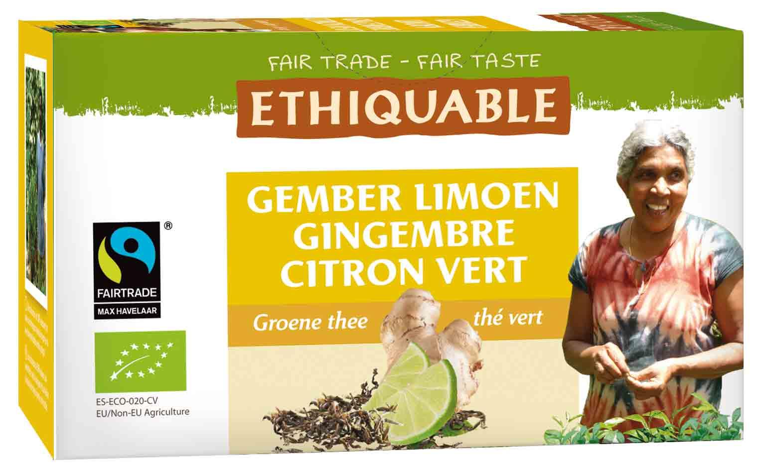 Ethiquable - Groene thee met limoen en gember - 36 gr