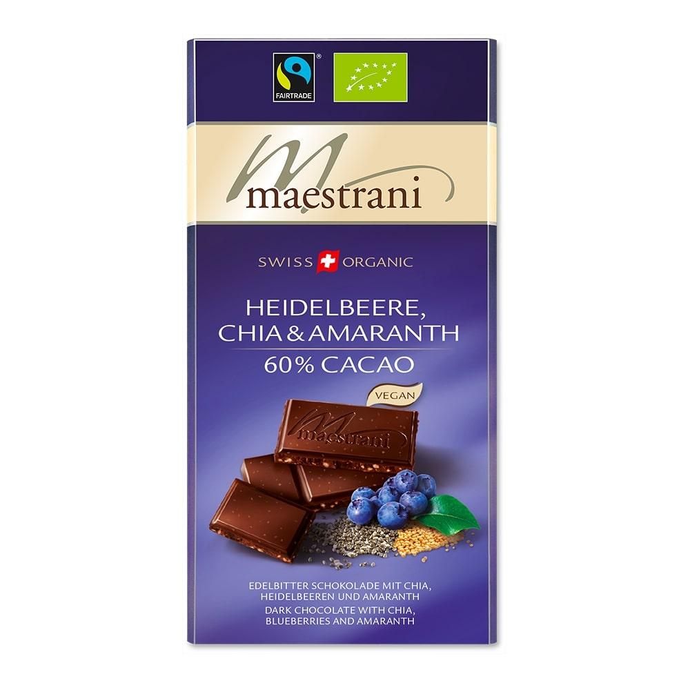 Tafelschokolade Heidelbeere, Chia & Amaranth