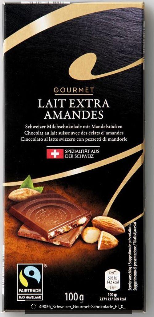 Tafelschokolade Lait Extra, Amandes