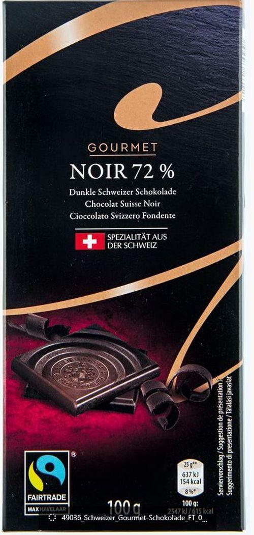 Schweizer Schokolade Noir 72 Prozent