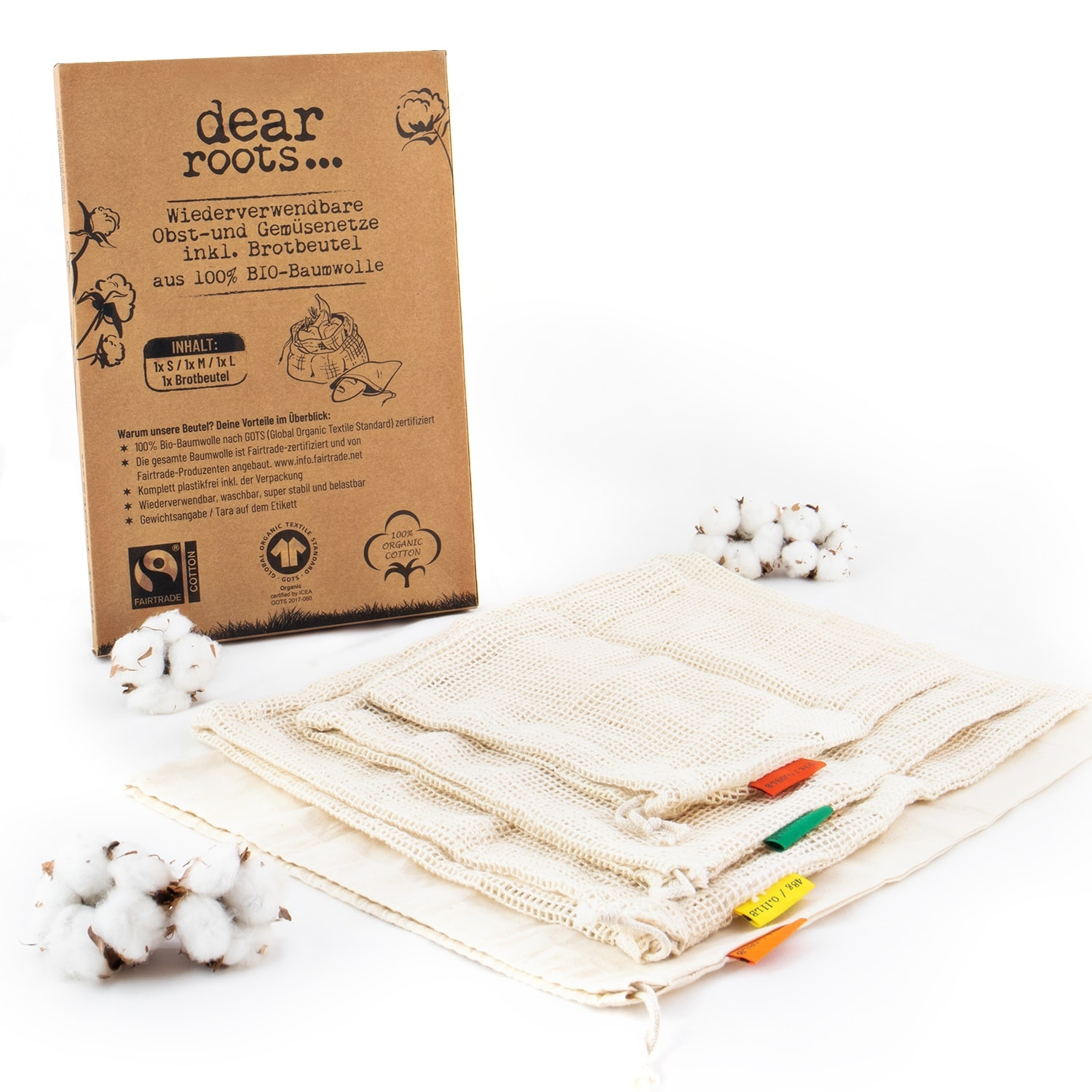 Recycable bags for fruit, vegetables and bread