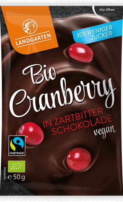 Bio FT Cranberry in Zartbitter-Schokolade (zuckerreduziert) 50g