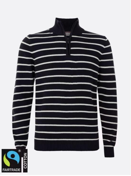 Sweater 14 zip Cotton Navy