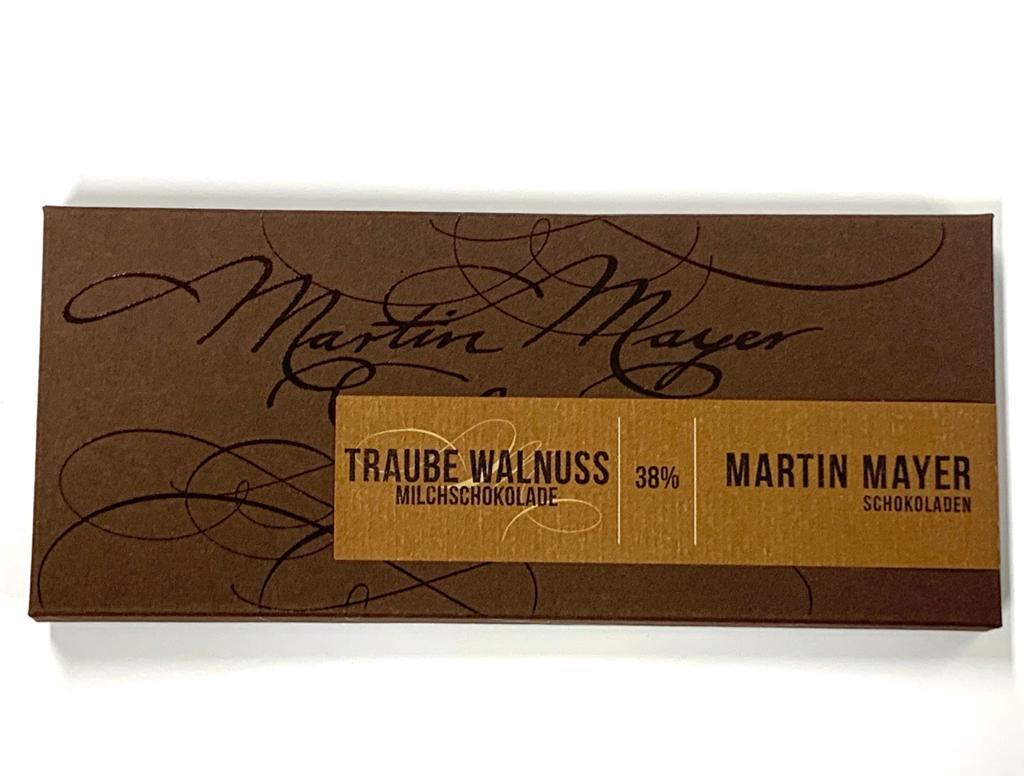 Tafelschokolade Traube – Walnuss 38 Prozent