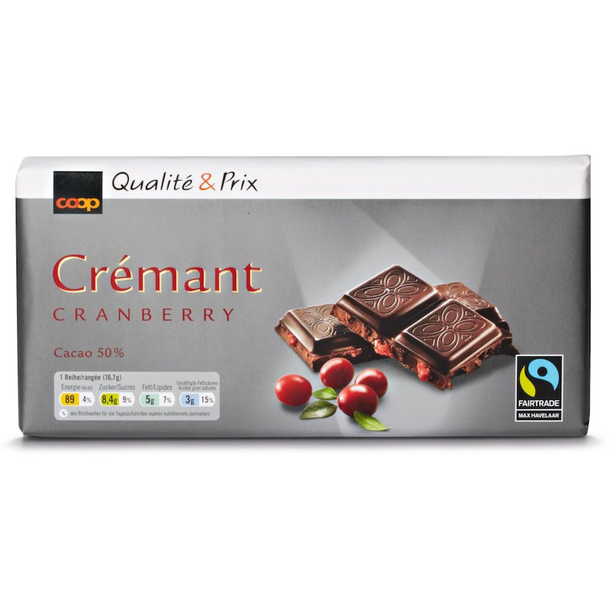 Tafelschokolade Crémant Cranberry