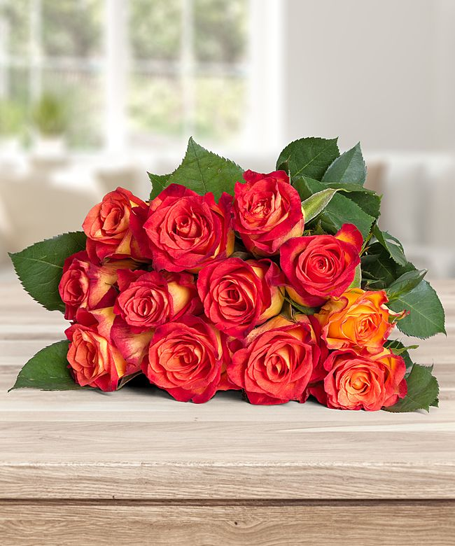 Rosen gelborange 12er-Bund 40cm