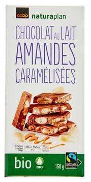 Milchschokolade mit karamelisierten Mandel