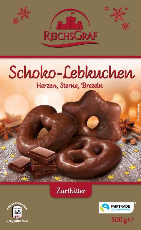 Schoko Lebkuchen Herzen, Sterne, Brezel, Zartbitter 500g