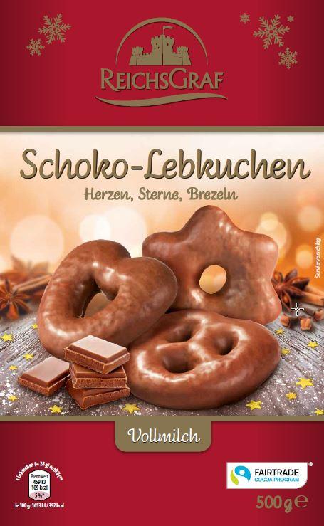 Schoko Lebkuchen Herzen, Sterne, Brezel, Vollmilch 500g