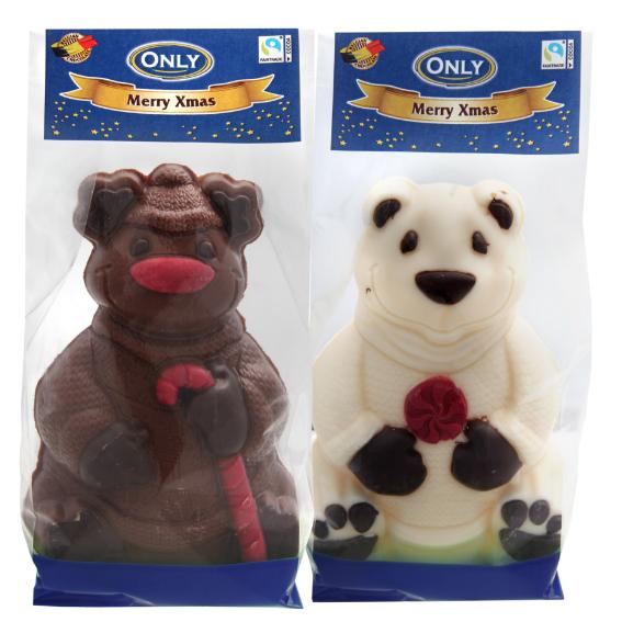 DISPLAY Schokoladenfiguren Weihnachten handbemalt