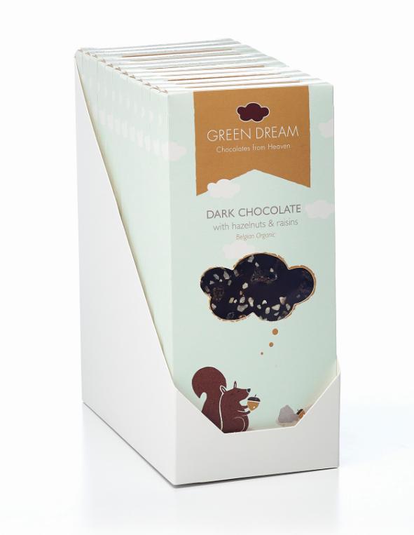 Green Dream – Chocolat noir aux noisettes et raisins – 85 gr