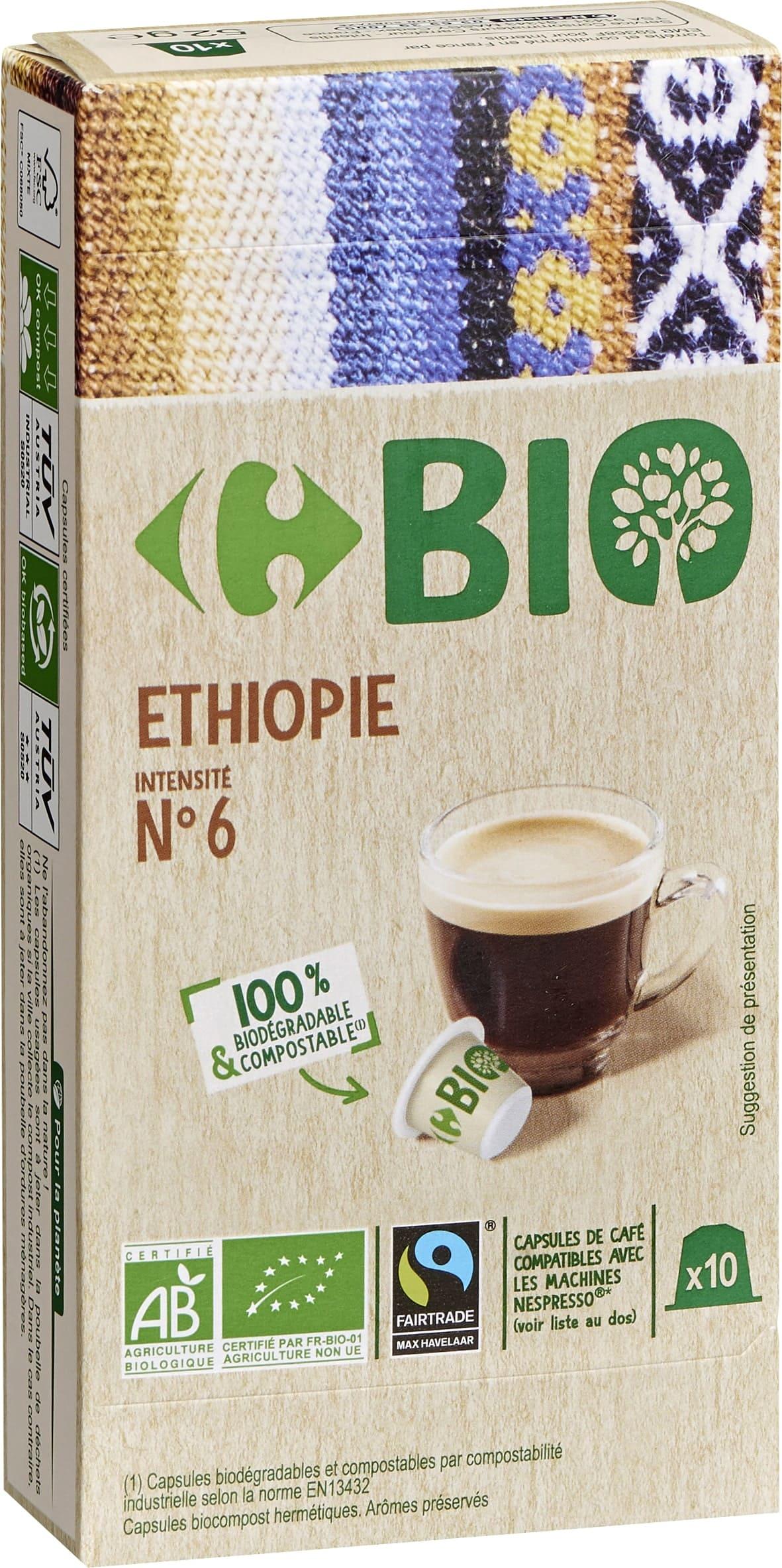 Capsules de cafe type nespresso compostable BIo degradable ETHIOPIE