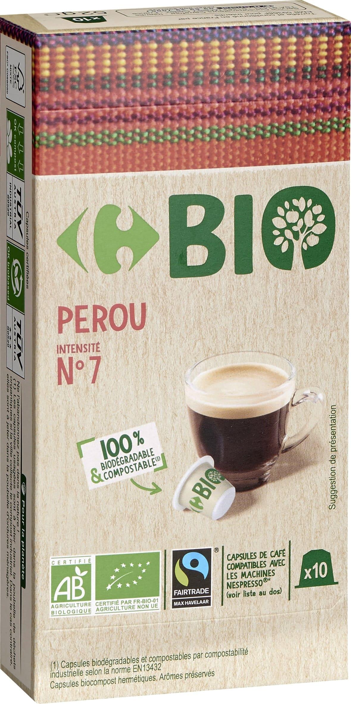 Capsules de cafe type nespresso compostable BIo degradable PEROU