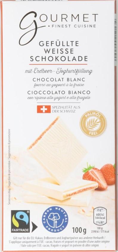 Weisse Schokolade mit Erdbeerfüllung