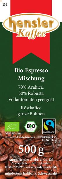 Bio Fairtrade Espresso Mischung, ganze Bohnen